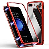 IPhone 8 Plus Case, MR Mobile Hub Magnetic Adsorption Case Ultra Slim Metal Frame Tempered Glass With Built-in Magnet Flip Cover [Support Wireless Charging] For Apple IPhone 8 Plus (Clear Red)