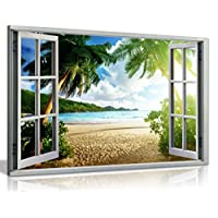 Beach Sunset View 3D Window Effect Canvas Wall Art Picture Print (36X24)