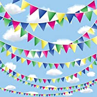 LAOZHOU 262.5 Feet Multicolor Bunting Banner 150 Large Flags-Waterproof Polyester Fabric - Perfect for Garden/Birthday Party