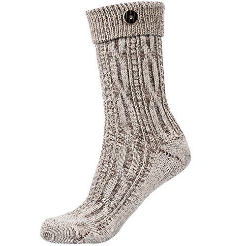Socken Zopfmuster mit Umschlag und Knopf in beige meliert Gr. 43