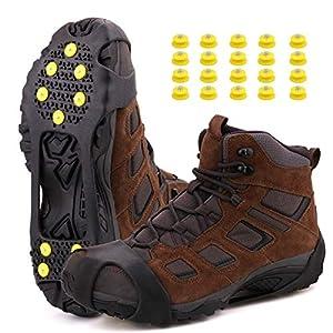CENXINY Schuh Spikes 1 Paar, Schuhspikes Schuhkrallen aus TPE mit Hoher Haftfestigkeit, Anti Rutsch Eiskrallen Schnee Spikes, 20 Spikes Zusätzlich Mitgeliefert