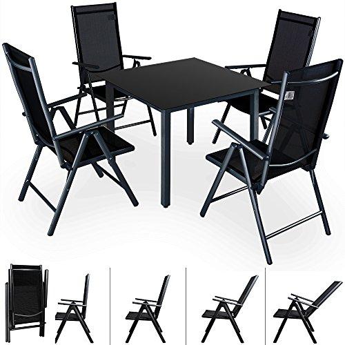 Deuba Sitzgruppe Bern 4+1 Aluminium 7-Fach verstellbare Hochlehner Stühle Tisch mit Sicherheitsglas Anthrazit Garten Set