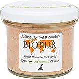 4er-SET Bio Hundefutter Geflügel, Dinkel, Zucchini im GLAS! 100g BIOPUR