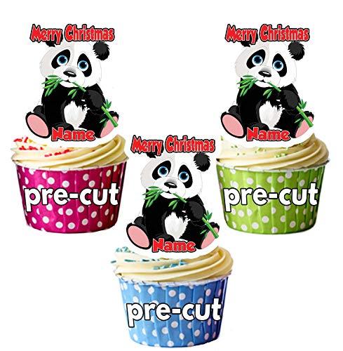 AK Giftshop Décorations de Noël personnalisée Panda Comestible pour Cupcakes/gâteau Décorations (Lot de 12)-Ajouter n'importe Quel nom