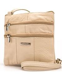 Lorenz Ladies Small Genuine Soft Leather Cross Body / Shoulder Bag (1) # 1941 - Beige