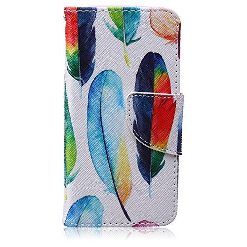 Ukayfe iphone 5/5S Copertura, confine di placcatura Design Crystal Clear diamante di Bling Custodia Ultra Slim Morbido TPU Gel Silicone Trasparente Protettivo Skin Protettiva Shell Case Cover per ipho Piume colorate