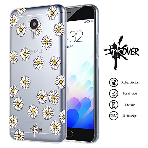 Cover Meizu M5S - INKOVER - Custodia Cover Protettiva Guscio Soft Case Bumper Trasparente Sottile Slim Fit Tpu Gel Morbida INKOVER Trasparent Design Fiori Margherite Flowers Fashion per Meizu M5S