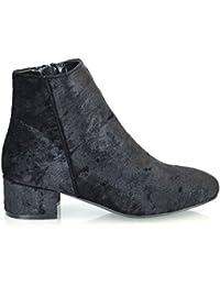 ESSEX GLAM Damen Niedriger Absatz SAMT Kurzshaft Stiefeletten Chelsea Schuhe 361d70f15b