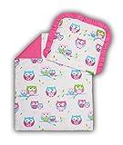 Amilian® Kinderwagenset Baby Bettwäsche Garnitur für Kinderwagen Kissen Decke Füllung Eule weiß/rosa (2 tlg.)