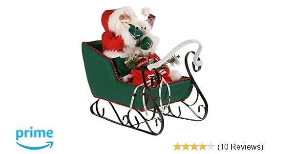 Vintage Red Metal Red Christmas Tree Sleigh Garden Ornament Shabby Sledge HOMES