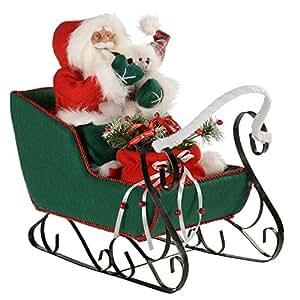 WeRChristmas - Decorazione natalizia a forma di Babbo Natale sulla slitta, 60 cm, colore: rosso/verde