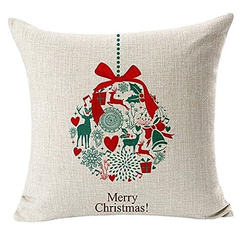 sypure (TM) 1pièces Qualité Joyeux Noël Elk Bonhomme de neige Square New Composite en lin taie d'oreiller couverture Corps Taie d'oreiller lit maison Textile, Type