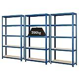 Mega Deal | Set aus 3x Schwerlastregal (Tiefe 30 cm) | Fachlast 200 kg pro Fachboden | Metallregal Kellerregal Lagerregal Werkstattregal Garagenregal |Belastbar mit 1000 kg