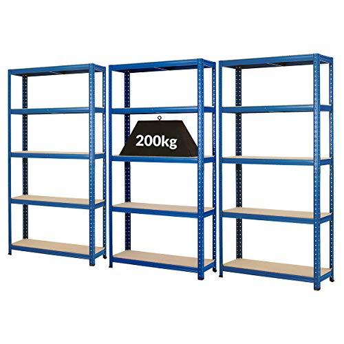 Mega Deal | 3x rayonnages pour charges lourdes - profondeur 30 cm | 200 kg par étagère -