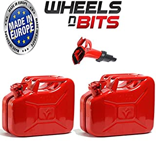 Wheels N Bits 2 x NEW HIGH QUALITY METAL POWER COATED INSIDE AN OUT RED JERRY CAN 10L LITRE CAN WITH SPOUT