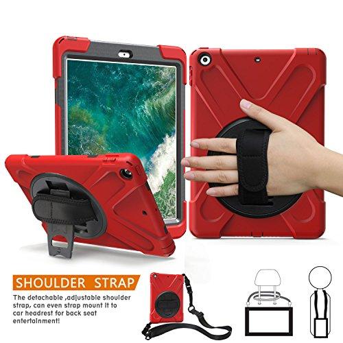 iPad Air Fall, braecn Heavy Duty Fullbody Robuste PC Silikon Schutzhülle mit 360 Grad drehbar Ständer/Handschlaufe und tragbar Schultergurt für iPad Air 2013 (Modell Nummer A1474 A1475 A1476) (RED) - Ipad Handschlaufe Air