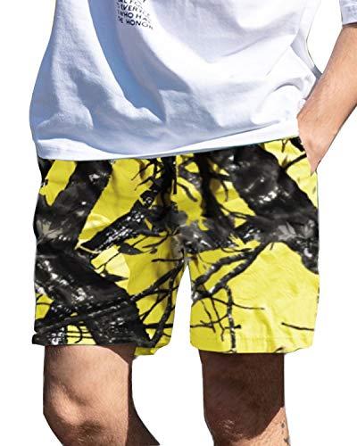 INCERUN Herren Camouflage Shorts Sommer Cargo Shorts Gerade Freizeithosen Flut Hosen Gelb S -