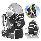 Fillikid Zaino da Montagna Porta Bimbi, con protezione solare, cintura | Zaino per escursioni con bambini e neonati fino a 18 kg - Grigio