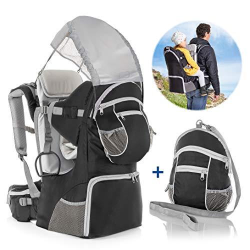 Fillikid - Mochila Portabebés Espalda con protección solar, cinturón, compartimentos almacenaje y mochila extraíble - Silla Senderismo para bebés y niños pequeños hasta 18 kg - Gris