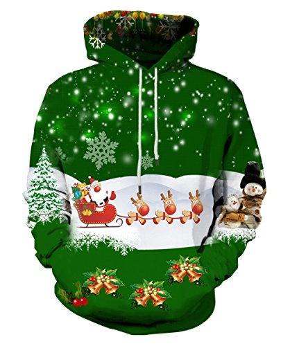 EOWJEED 3D Gedruckt Pullover Sweatshirt Weihnachten Hoodie Lässige Galaxy Raum Kreative Grafik Mit Kapuze Sweatshirts X-Large (Grafik Weiße Junioren)