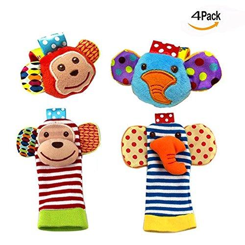 Itian Sonajeros y aros de peluche, Sonajeros para muñeca y del pie de la muñeca, juguete suave (4pcs)
