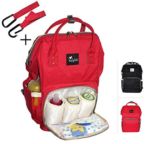 BABYDAY® XL Baby Wickelrucksack | Wickeltasche groß inkl. 2 Haken | mehrere Farben | 24 Liter Volumen | Lässige Windeltasche | Babytasche in rot