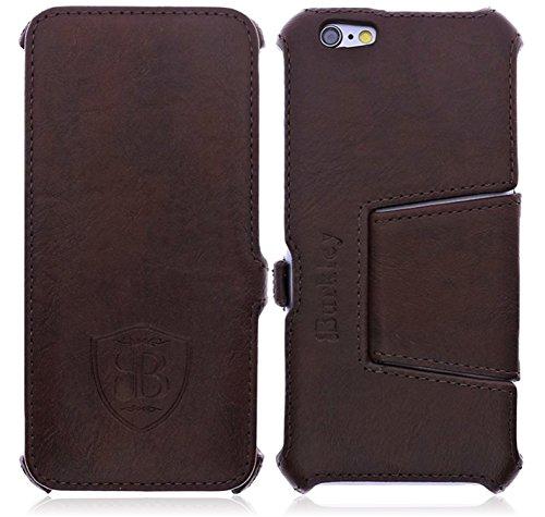 Burkley Apple iPhone 6 / iPhone 6S Hülle | Tasche | Handyhülle | Handytasche | Schutzhülle | Flip Cover | Book Case (Kaffee Braun)