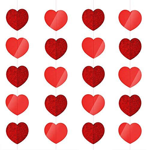 (KUUQA 5 Stück Valentinstag Herz Girlande Herzform Hängende Schnur Dekoration Decke Dekoration für Valentinstag Liefert)