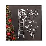 ODJOY-FAN Weihnachtsmann Die Leiter Hinaufsteigen Wandaufkleber Aufkleber Fenster Aufkleber Weihnachten Vinyl Kunst Dekoration Abziehbilder 60x90cm(Weiß,1 PC)