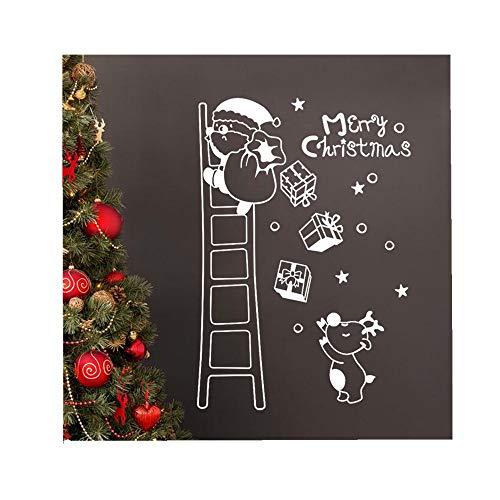 (ODJOY-FAN Wand Fenster Aufkleber Weihnachtsmann Die Leiter hinaufsteigen Wandtattoos Weihnachten Vinyl Kunst Dekoration Abziehbilder Wandbilder 40 * 60CM(Weiß,1 PC))
