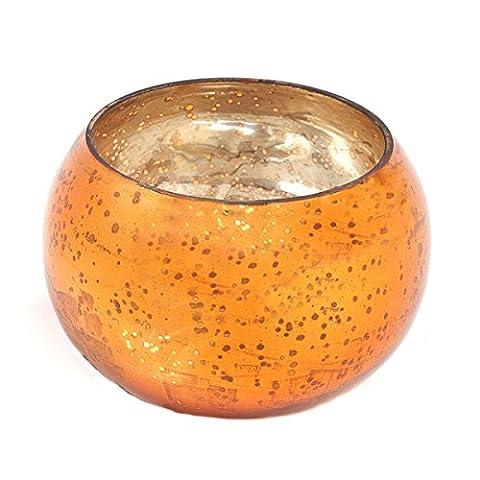 Insideretail Round Votive, Glass, Orange, 6 x 6 cm, Set of 3