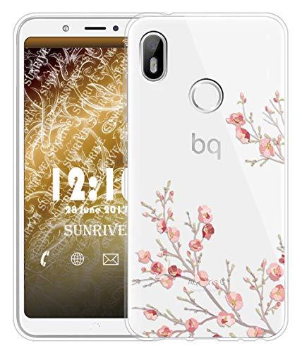 Sunrive Für BQ Aquaris C Hülle Silikon, Transparent Handyhülle Schutzhülle Etui Case für BQ Aquaris C(TPU Blume)+Gratis Universal Eingabestift