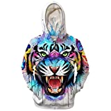 Mens Zip Up Hoodies Breathable Tiger Monkeys 3D Prints Pullover with Pockets Slim Fit Sweatshirts Jacket Couple Hoodies Unisex Look,White,XXXL