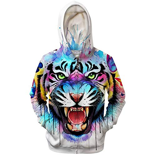 Mens Zip Up Hoodies Breathable Tiger Monkeys 3D Prints Pullover with Pockets Slim Fit Sweatshirts Jacket Couple Hoodies Unisex Look,White,L