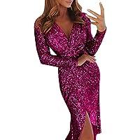 FRAUIT Vestidos de Noche para Las Mujeres Formales de Las señoras Vestido de Lentejuelas Formales Deep V Wrap Acanalada Manga Larga Nightdress Suave Clubwear Vestido de Lentejuelas