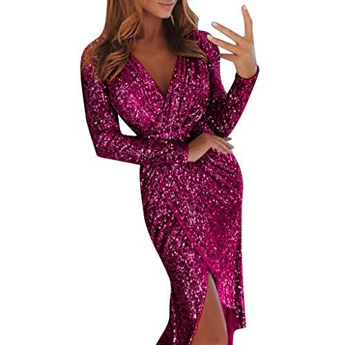 015f761e9c6 Moonuy Femme Brillant Moulante à Paillettes Sexy Slim Couleur Unie Robe de  Soirée Sexy Col V
