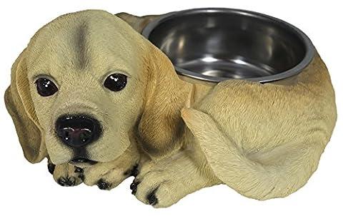 Dinner Dog Food Bowl Hundefress Bowl with Decorative Dog Figure Reposed Figurine Pet Feeding Water Bowl