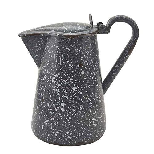 Granit emaillierter Metall-Krug mit Deckel, Grau - Deckel Metall-krug Mit