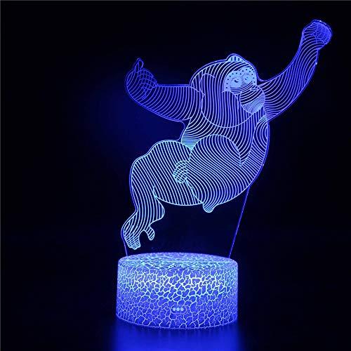 3d crenze led illusione lampada con telecomando 7 colori cambia luce touch switch table desk lamps 3 aa batterie o usb powered visivoscatto creativo di forma animale regalo base, scimmia