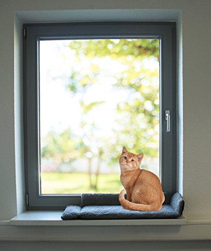 Fensterbankauflage und Katzenliege - DER perfekte Fensterkuschelplatz für Ihre Katze oder Ihren Kater - Größe 80 x 35 x 4 cm - große Liegefläche von 60 cm x 25 cm bei einer flauschigen Höhe von 4 cm, Klappbare Seiten halten die Zugluft vom Fenster und die Kälte der Wand ab, zum nach Draußen schauen - Liegen & Entspannen - Waschbar und Langlebig - rutschfeste Unterseite - keine Befestigung durch Bohren nötig x 33 cm - für alle Fensterbänke - ein hochwertiges Marken - Produkt - Farbe : dunkelgrau