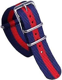 16mm azul oscuro a azul vigoroso estilo / rojo / oscuridad de la NATO deporte de nylon tipo Reloj pulsera de las mujeres