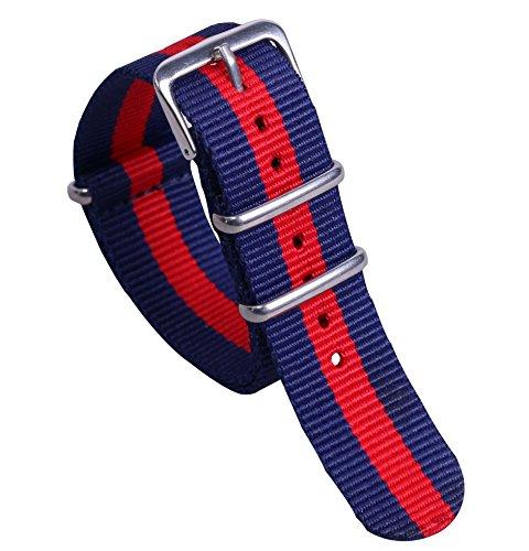 12mm dunkelblau / rot / dunkelblau multicolor jugendlicher Nylon NATO-Stil Uhrenarmband-Bügel Ersatz für Mädchen