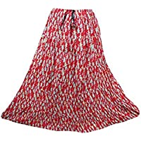 Mogul Interior Womens Festive Skirt Red Printed Flare Crinkle Boho Maxi Skirts