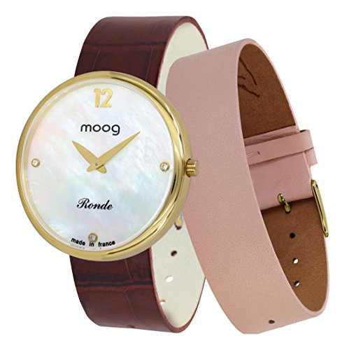 Moog Paris Ronde Vogue Women's Watch with White Mother of Pearl Dial, Brown Genuine Leather Strap & Swarovski Elements - M41672-B32