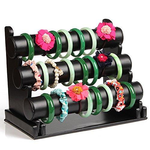 Etruke 3 étages Porte bijoux support cuir noir montre bracelet support Rack