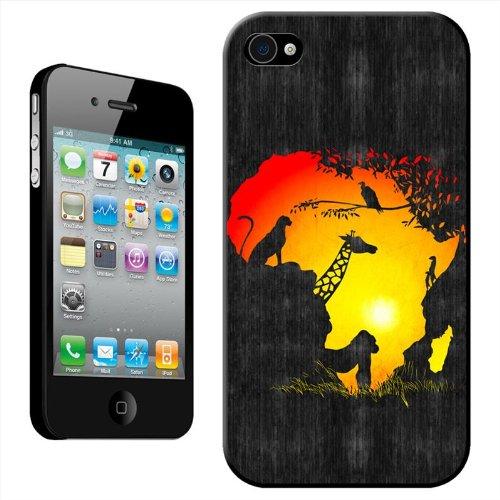 Afrique Sunset & Silhouette Girafe Gorille Vulture Guépard Coque arrière rigide détachable pour Apple iPhone modèles, plastique, iPhone 5C