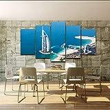 hhlwl Lienzo HD Imprime Fotos Decoración para el hogar 5 Unidades Burj Al Arab Pintura Seawings Modulares Dubai Blue Sea View Poster Wall Art Frame-40x60/80/100cm-no frame