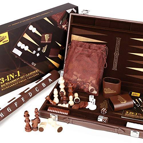 Peradix Backgammon - Schachspiel Schach - Dame 3 in 1, 46.6x38.2 Großes Schachbrett, Luxus Lederner Koffer