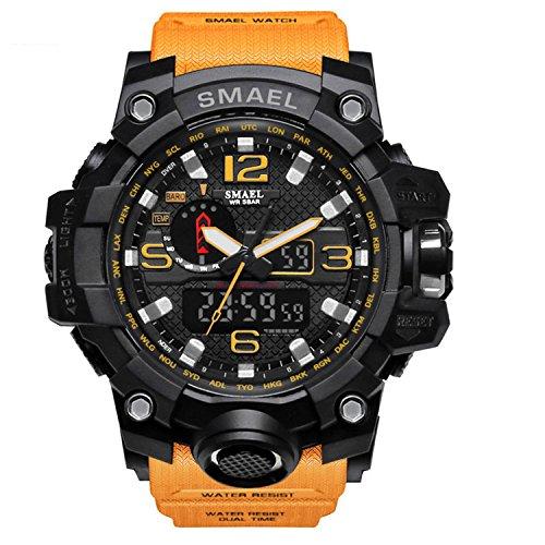Analógico Digital Reloj Militar reloj deportivo para hombre doble esfera Business Casual multifunción electrónico muñeca relojes resistente al reloj de pulsera