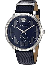 Versace Men's 'MANIFESTO EDITION' Swiss Quartz Stainless Steel and Leather Casual Watch, Color:Blue (Model: VBQ010017)